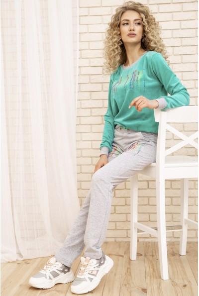 Женский прогулочный костюм двунитка Свитшот и штаны цвет Мятный 167R15-1