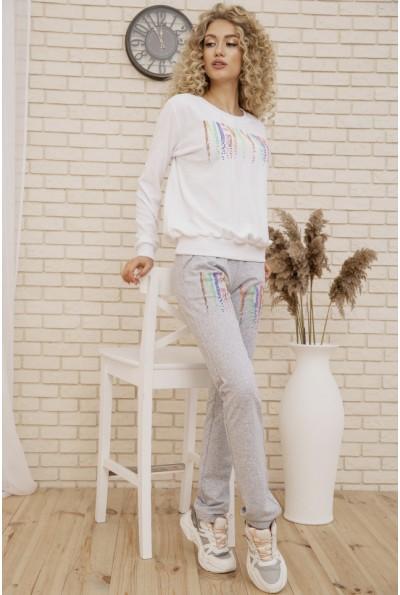 Женский прогулочный костюм двунитка Свитшот и штаны цвет Белый 167R15-1