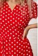 Длинное красное платье в горох 175R001 скидка