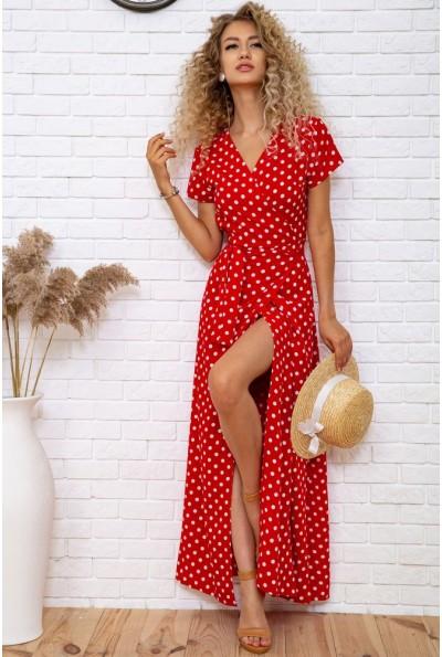 Длинное красное платье в горох 175R001 61888