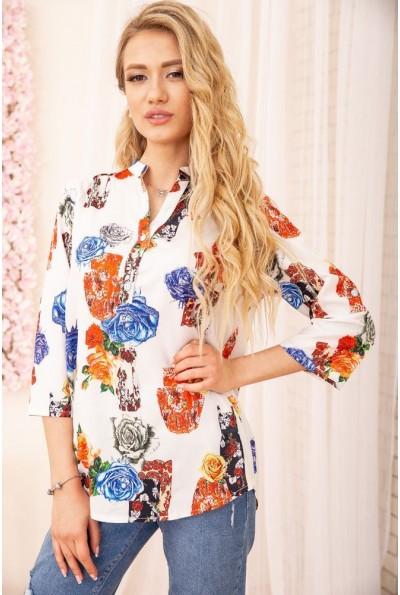 Летняя блузка женская из вискозы с цветами цвет Белый 172R806 55100