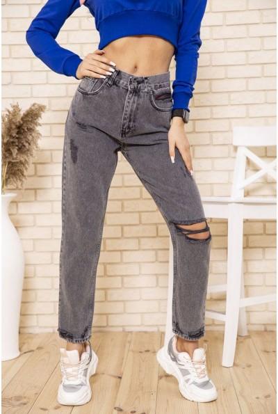 Рваные джинсы женские свободные серого цвета 164R574 49696