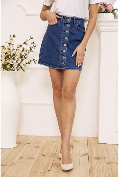Юбка женская джинсовая трапеция на пуговицах цвет Синий 129R590-1 50616