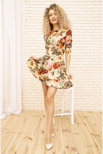 Платье женское с цветочным принтом цвет Темно-бежевый 167R86