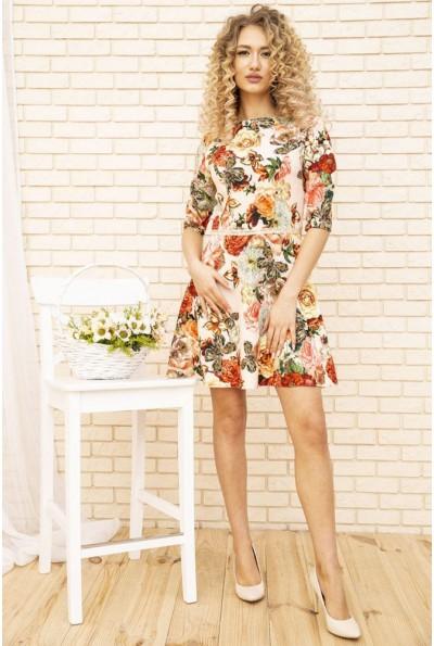 Платье женское с цветочным принтом цвет Бежевый 167R86
