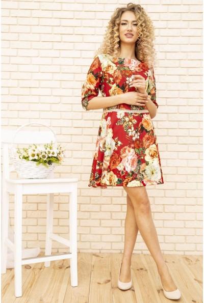 Платье женское с цветочным принтом цвет Красный 167R86