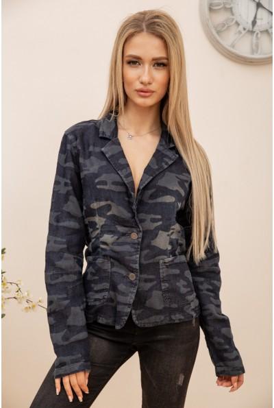 Пиджак-кардиган женский с милитари принтом трикотажный сине-серый AG-0008820