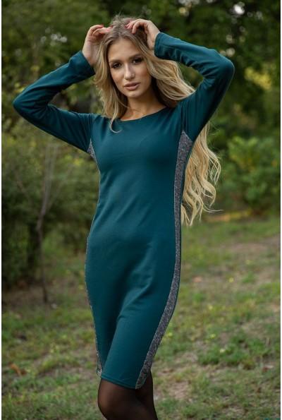 Хлопкое приталенное платье темно-зеленого цвета 153R4013
