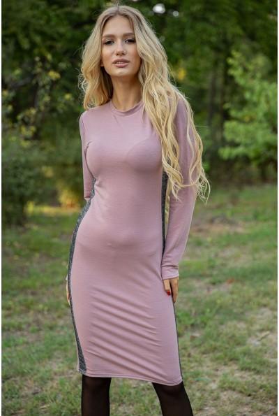 Женское пудровое платье с длинными рукавами 153R4013