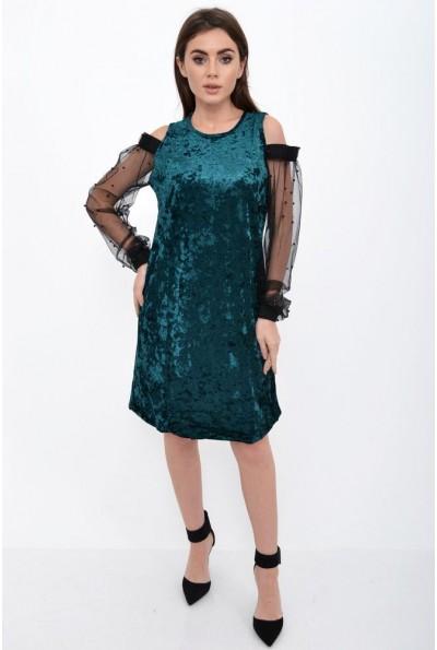 Платье с прозрачными рукавами зеленого  цвета 115R077