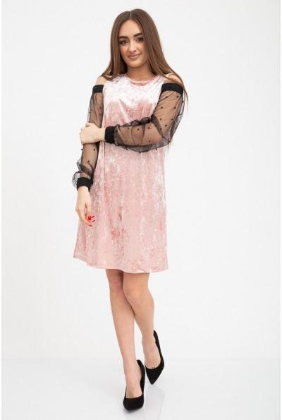 Платье с прозрачными рукавами розового цвета 115R077