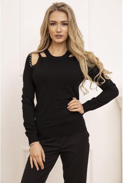 Свитер женский с открытыми плечами цвет Черный 131R6013 53229