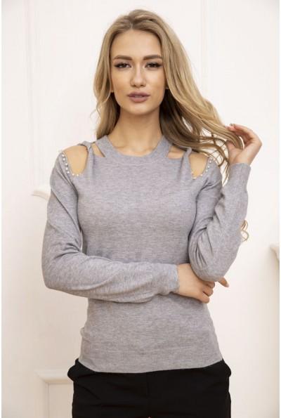 Свитер женский с открытыми плечами цвет Серый 131R6013
