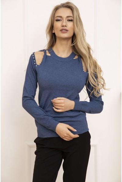 Свитер женский с открытыми плечами цвет Синий 131R6013