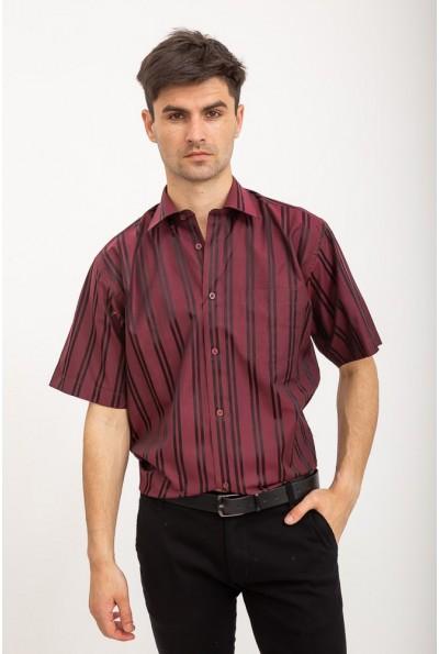 Рубашка с короткими рукавами бордовая в черную полоску Fra №8688-9K