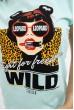 Мятная футболка женская леопардовый принт 138R007 скидка