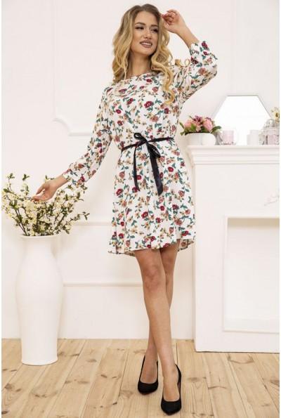 Платье женское с поясом с цветочным принтом цвет Белый 115R396-4 50926
