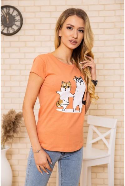 Футболка женская с котами цвет Терракотовый 119R5466-1 51994