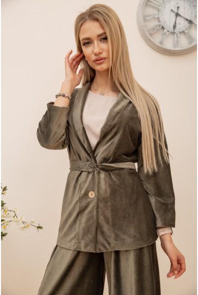Пиджак женский  велюровый 115R363-17 цвет Хаки 55990