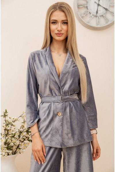 Пиджак женский  велюровый 115R363-17 цвет Серый 55988