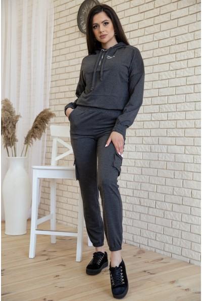 Костюм женский укороченный худи и штаны с карманами цвет Серый 119R288 54719