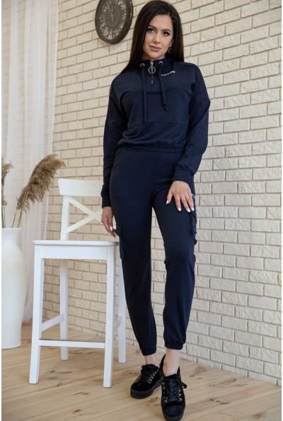 Костюм женский укороченный худи и штаны с карманами цвет Синий 119R288 54721