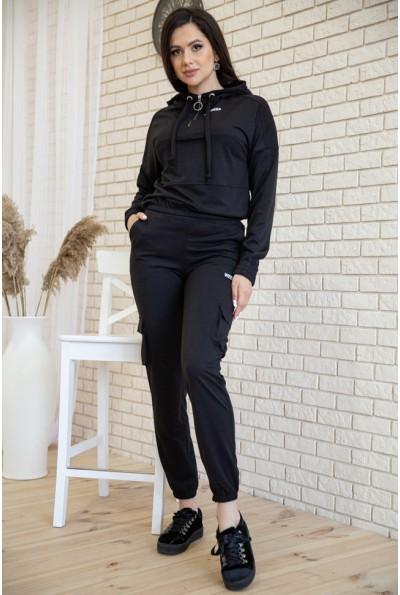 Костюм женский укороченный худи и штаны с карманами цвет Черный 119R288