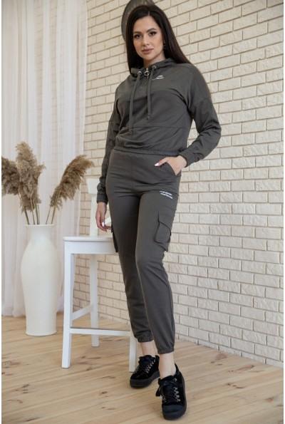 Костюм женский укороченный худи и штаны с карманами цвет Хаки 119R288