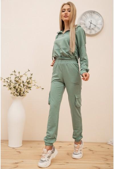 Костюм женский укороченный худи и штаны с карманами цвет Оливковый 119R288 56561