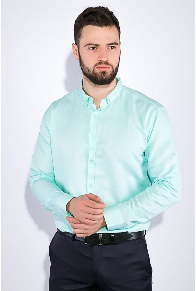 Мятная мужская рубашка однотонная с длинными рукавами 511F011