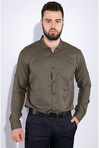 Мужская рубашка приталенная однотонная цвета хаки 511F011