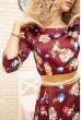 Платье атласное с цветочным принтом с поясом цвет Бордовый 167R0122 цена 699.0000 грн