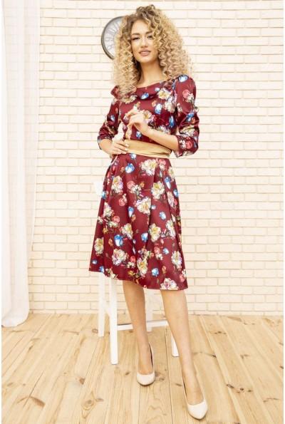 Платье атласное с цветочным принтом с поясом цвет Бордовый 167R0122