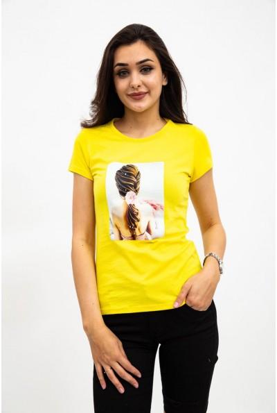 Футболка женская, желтая, с фото принтом 119R0113-4