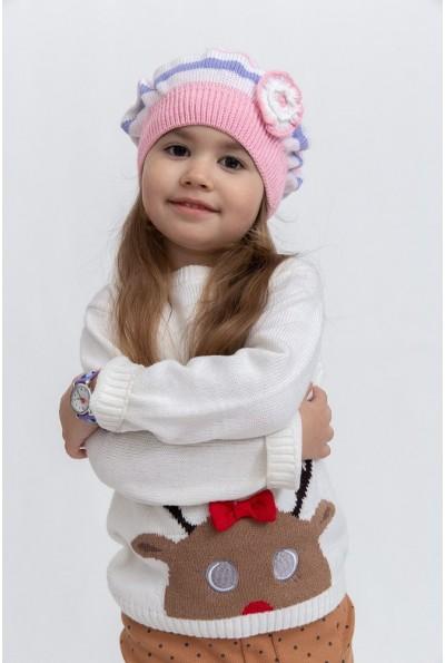 Шапка детская 126R005 цвет Бело-розовый