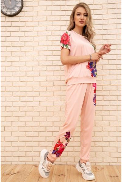 Женский повседневный костюм с цветами Персиковый 172R1268-1