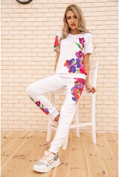 Женский повседневный костюм с цветами Белый 172R1268-1 56128