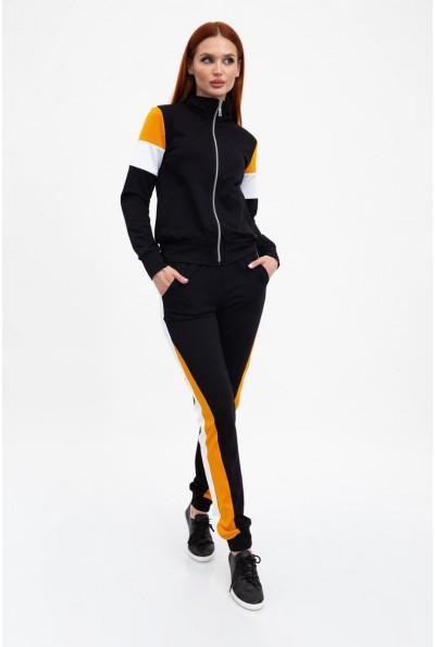 Спортивный трикотажный костюм женский хлопковый черный со вставками 102R049
