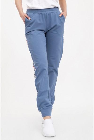 Спортивные штаны женские расцветки  джинс  с нашивкой 102R033-1