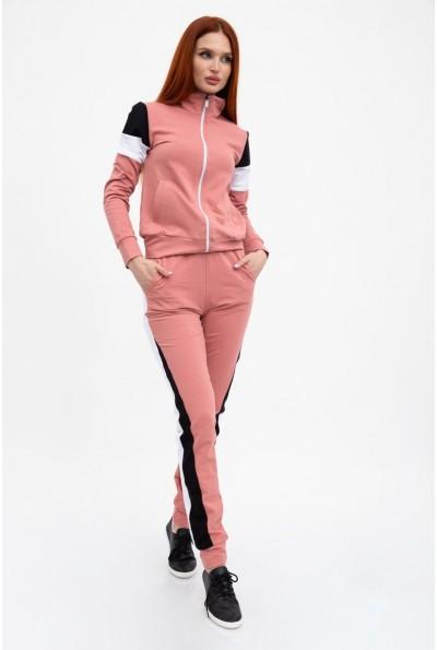 Пудровыйспортивный костюм женский без капюшона, зауженный 102R049