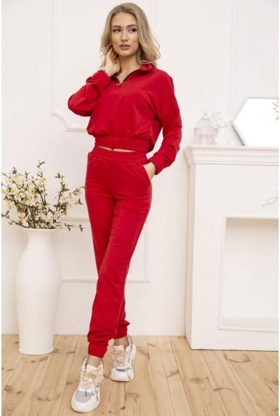 Спортивный костюм женский свитшот на змейке и штаны Красный 119R286 52989