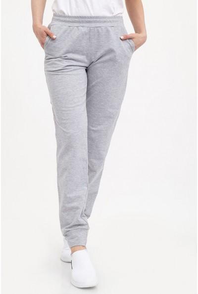 Спортивные штаны женские, серые, однотонные, с карманами 102R033-1