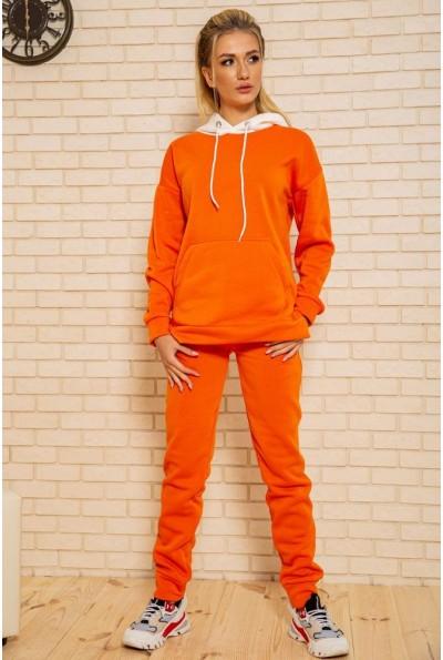 Спортивный костюм женский на флисе 102R117 цвет Оранжево-белый