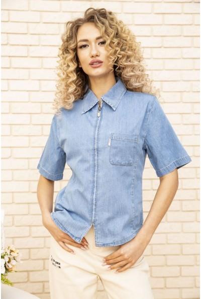 Джинсовая рубашка женская короткий рукав с карманом 123R1180 Голубой