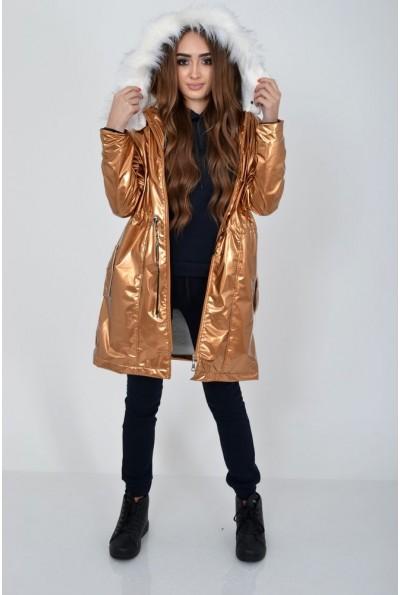 Демисезонная женская куртка из латекса с меховой подкладкой 103R061