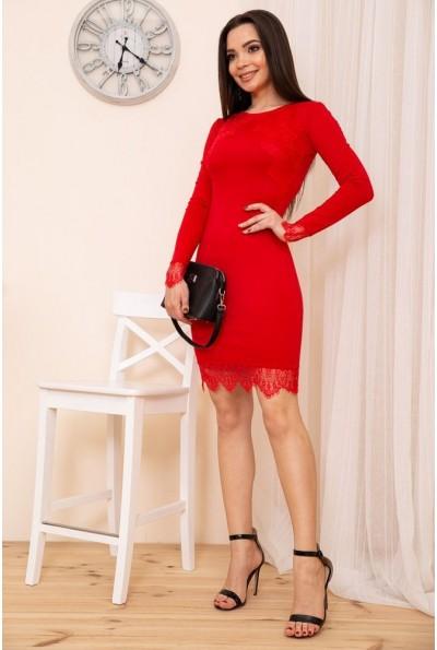 Облегающее мини платье с кружевом цвет Красный 167R39-1