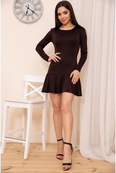 Приталенное короткое платье с оборкой цвет Шоколадный 167R40-1 54372