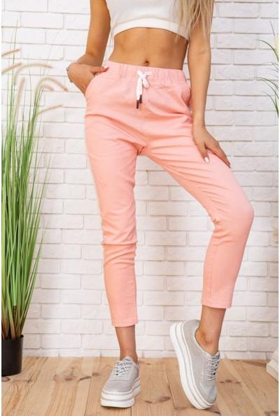 Летние штаны женские хлопковые с лампасами цвет Персиковый 129R207-6 57355