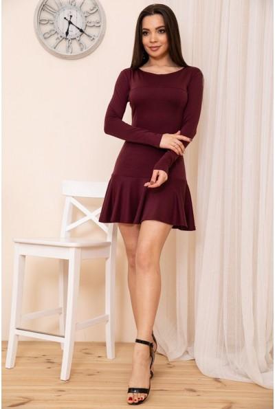 Приталенное короткое платье с оборкой цвет Сливовый 167R40-1 54364