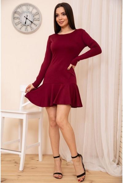 Приталенное короткое платье с оборкой цвет Бордовый 167R40-1